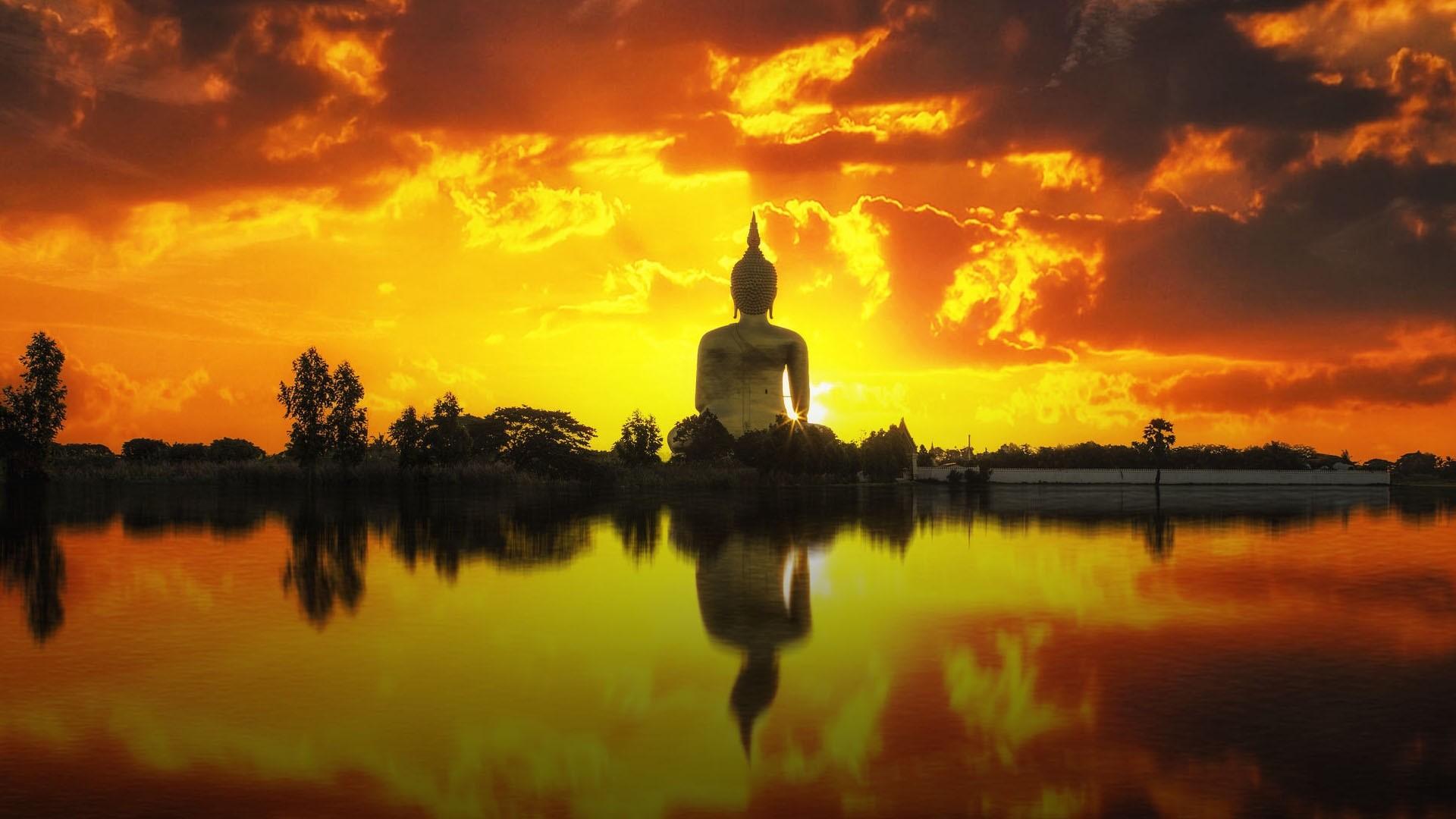 Buddha Statue Sunset Lake