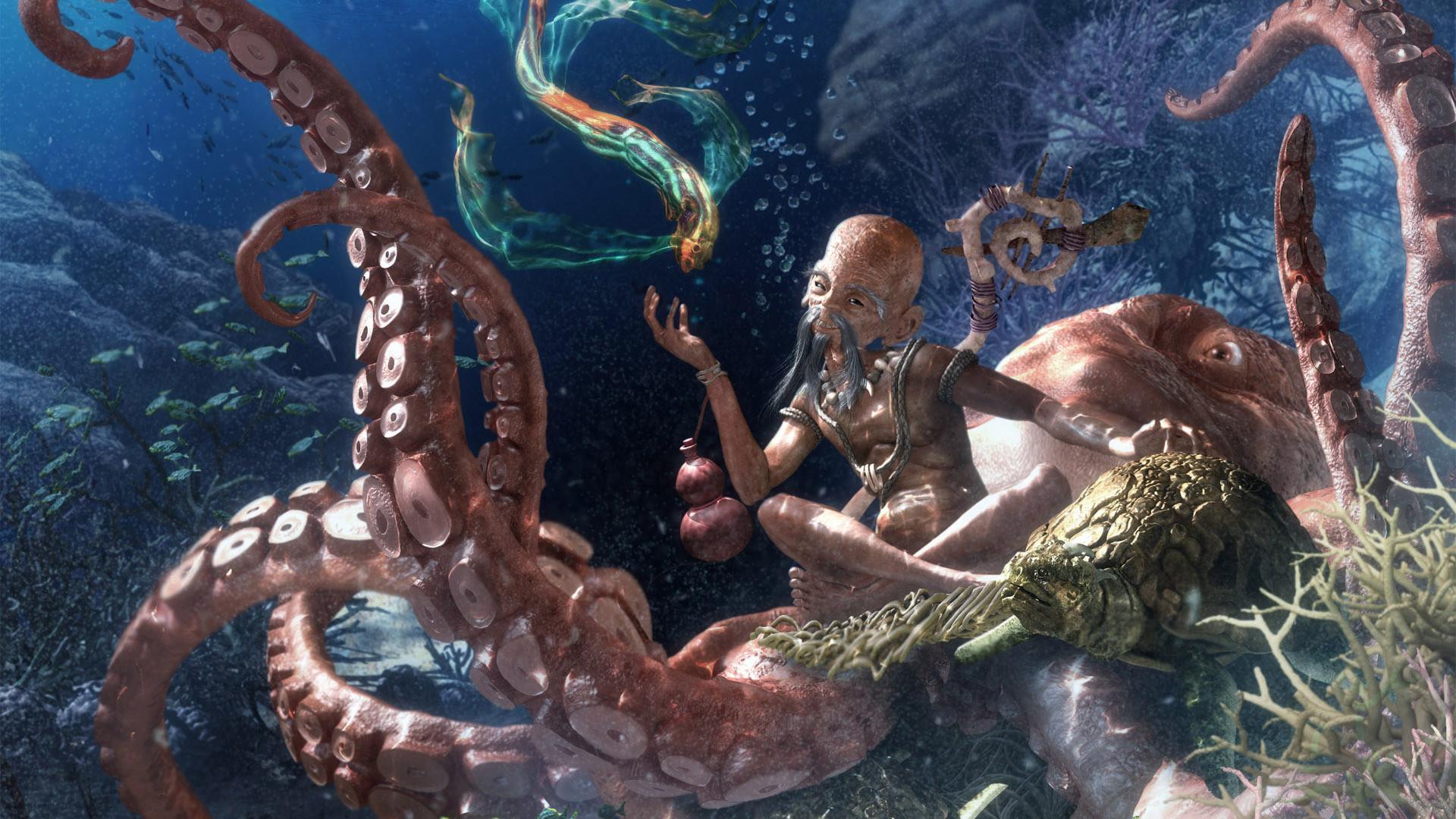 Marine Buddha on octopus