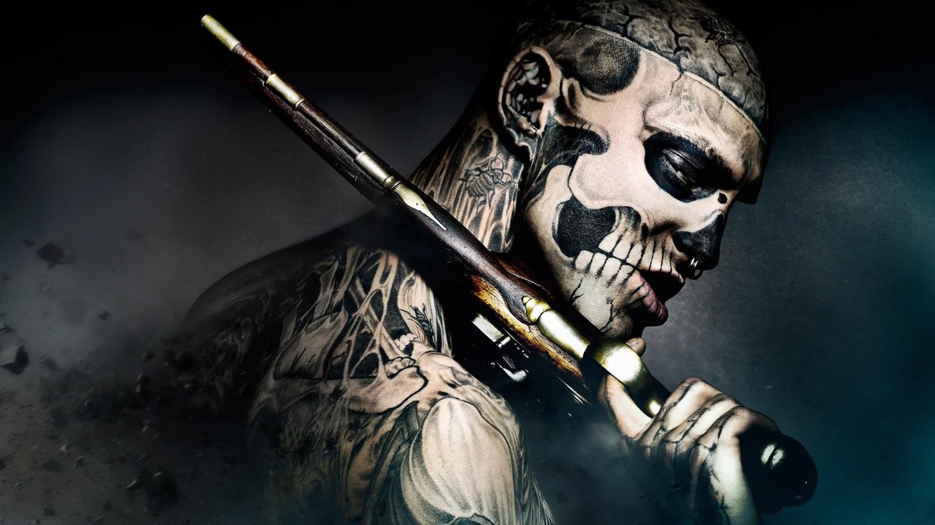 TATTOOED BODY – freak-gun-tattoo-skull wallpaper | | 448697 .