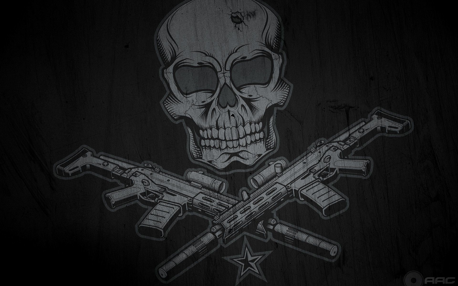 Skulls And Guns Wallpaper