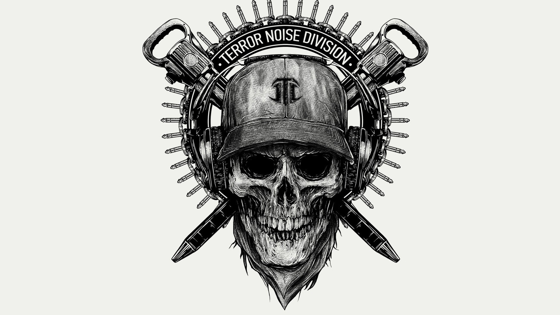 Preview wallpaper skull, helmet, drawing 1920×1080