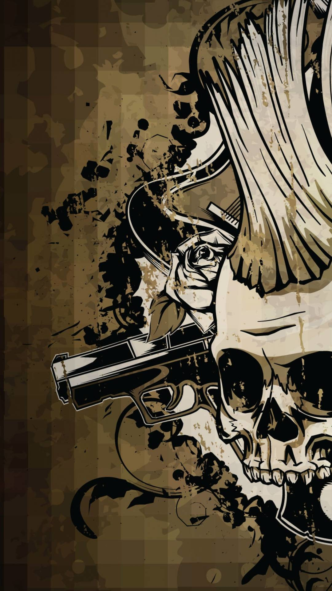 HTC HTC One Wallpapers: Brown Skulls n Guns Android Wallpapers