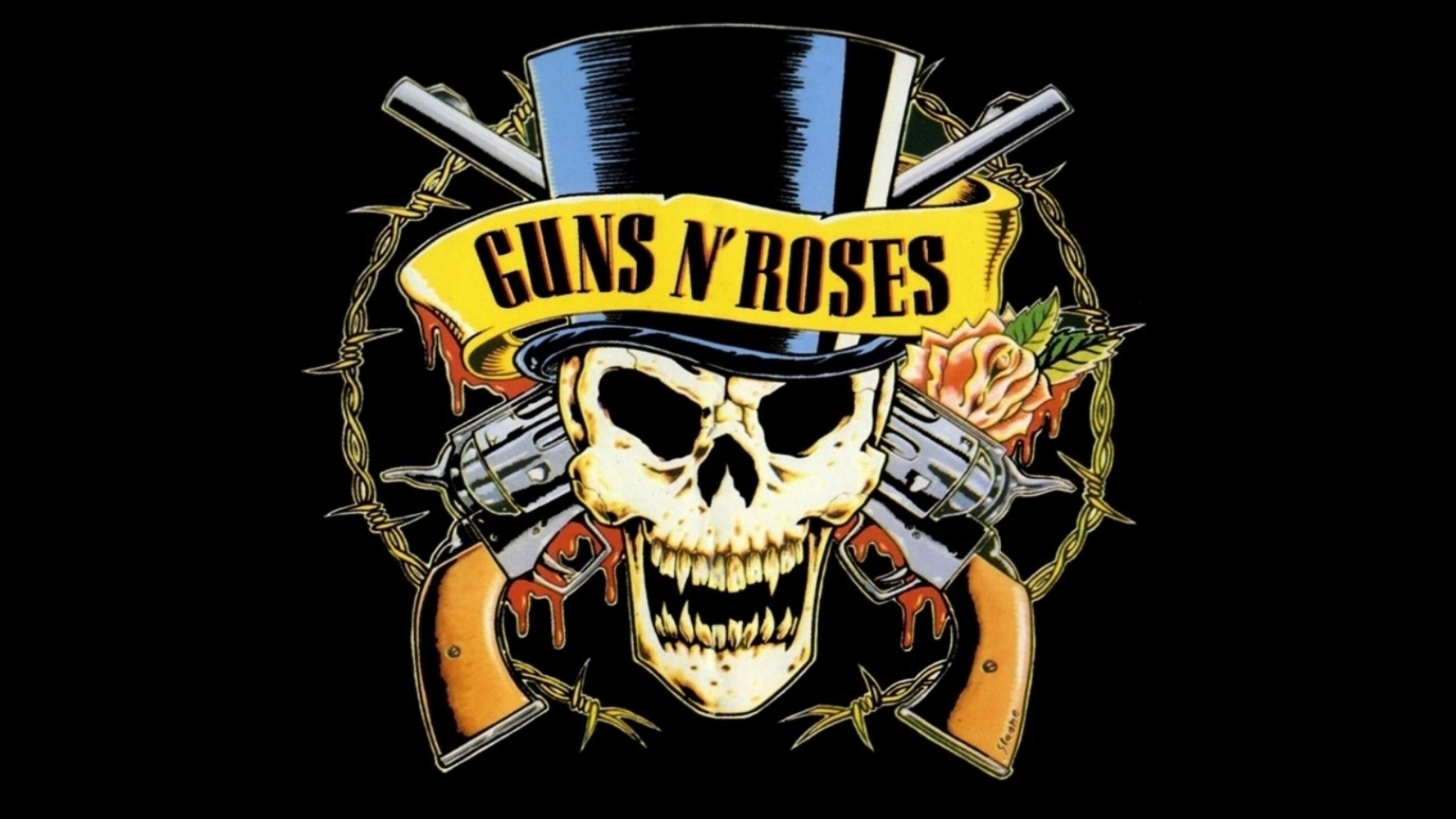 Preview wallpaper guns n roses, revolvers, skull, cylinder, rose 3840×2160