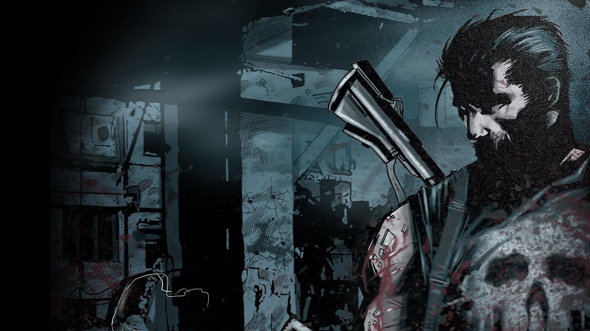 Skulls Black Guns Comics Blood Punisher Wallpaper At Dark Wallpapers