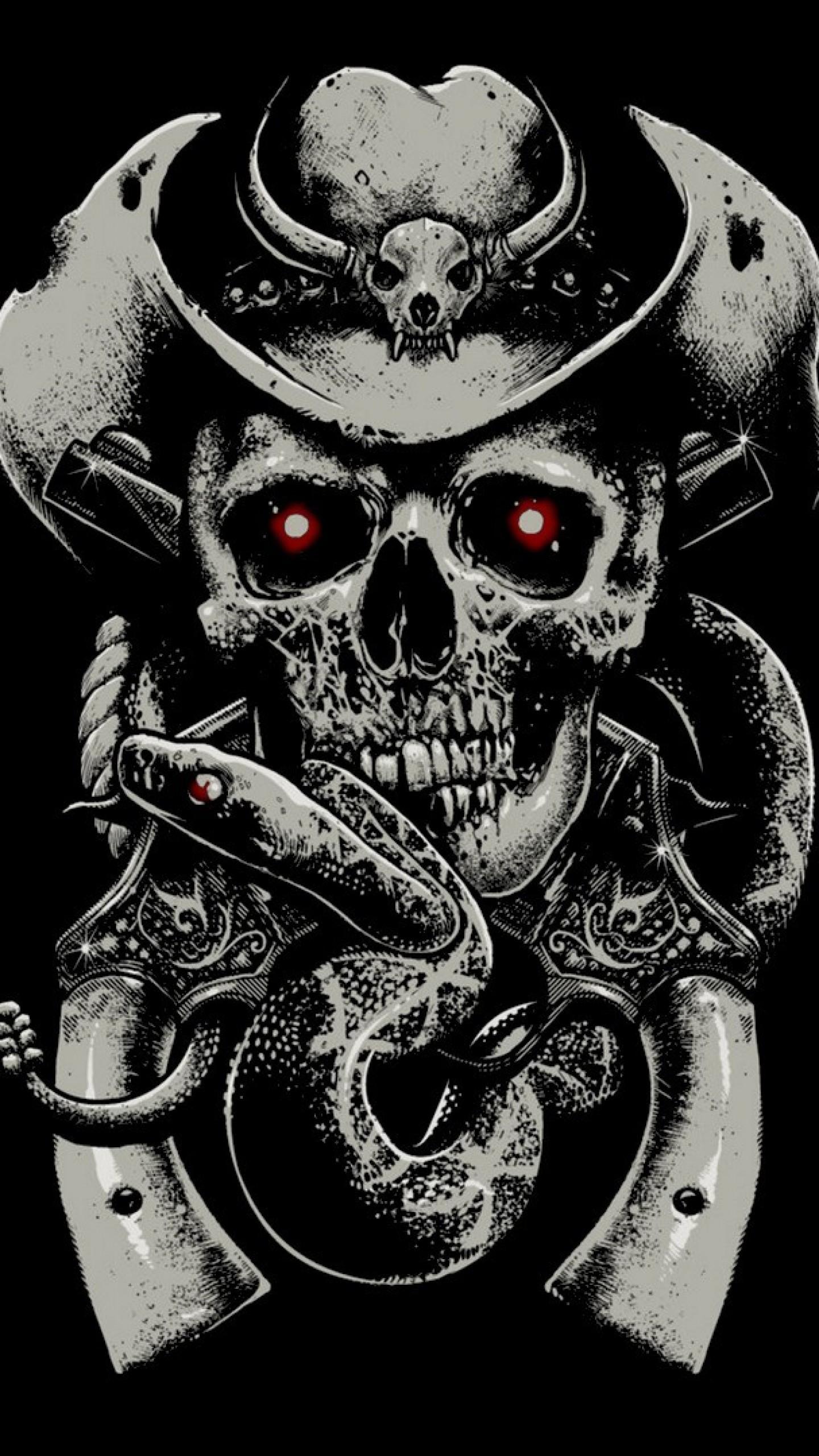 Preview wallpaper skull, fear, hat, guns, snake, background 1440×2560