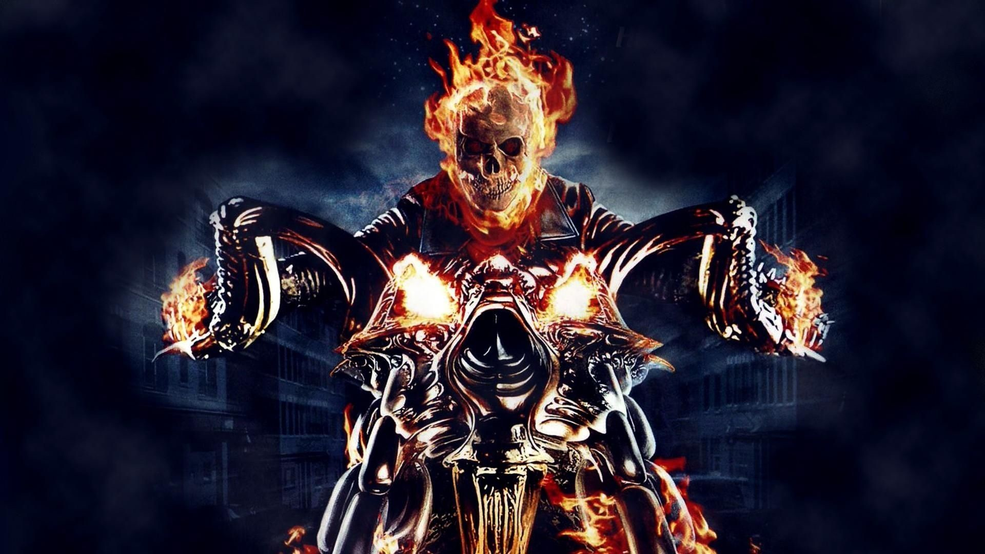 Download Wallpaper Ghost rider, Motorcycle, Fire, Skull .