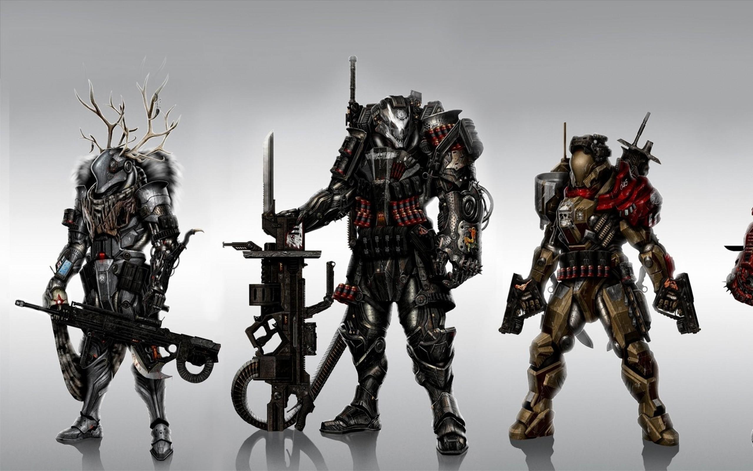 soldiers skulls pistols guns spartan futuristic team samurai horns shotguns  weapons fur sniper rifle Wallpaper HD