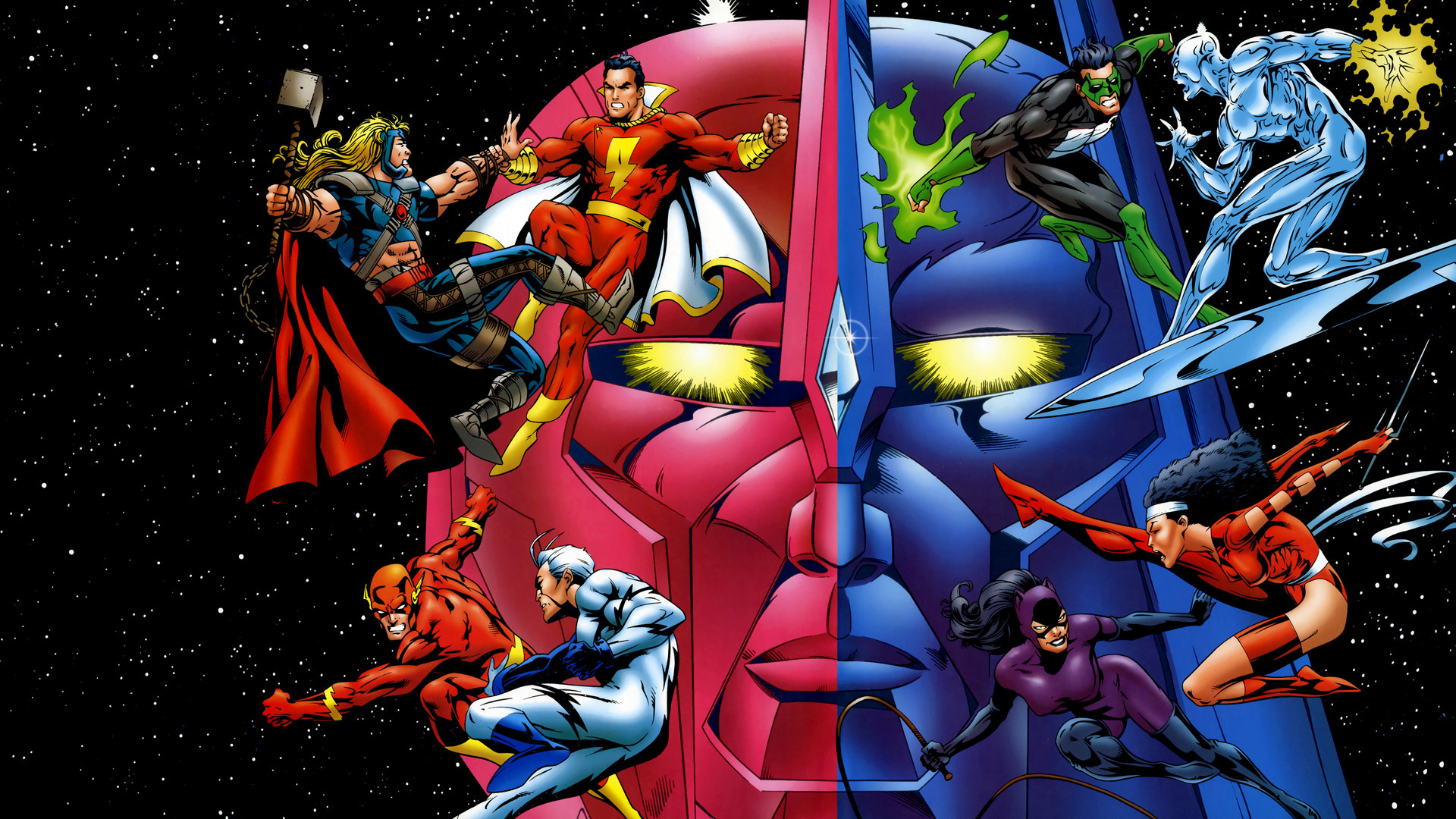 Comics – Collage Shazam Thor Flash Catwoman Silver Surfer Wallpaper