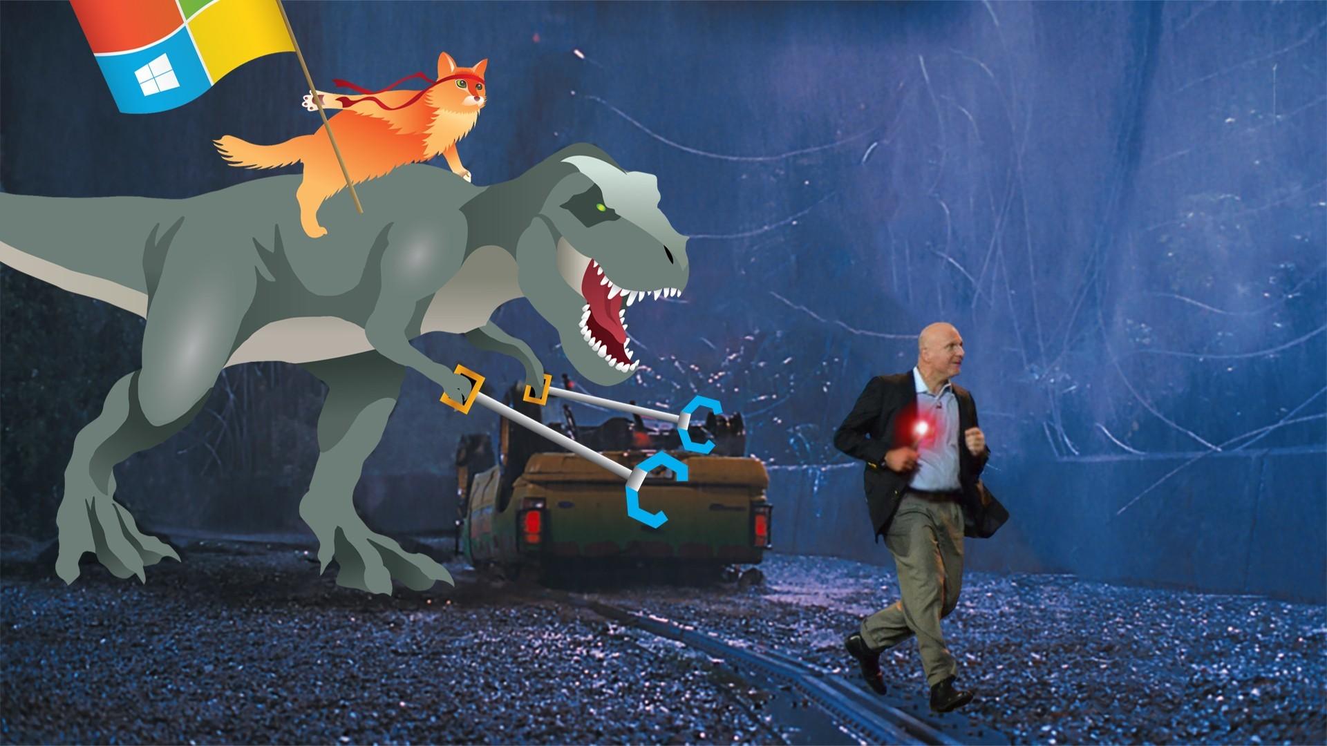 Ballmer running away from T-Rex
