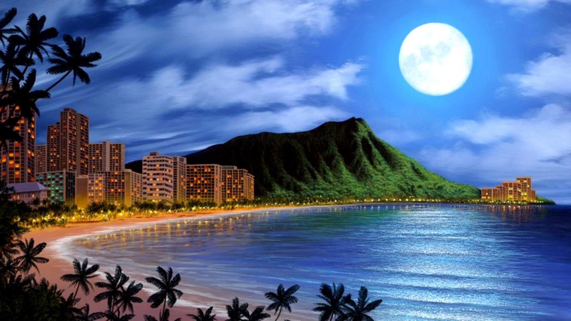 hd pics photos awesome beach buildings night sea moon nice hd quality desktop  background wallpaper