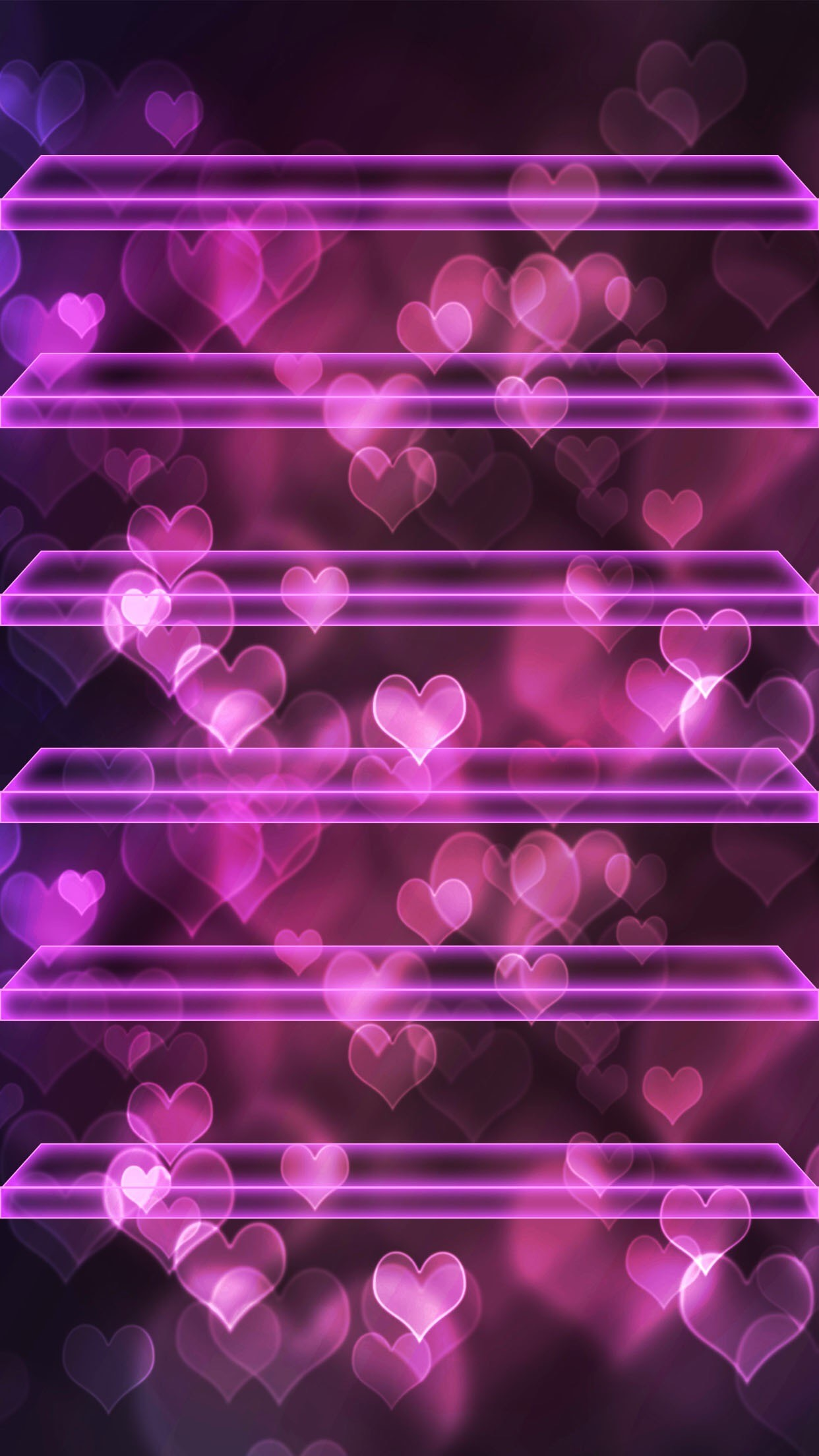 ↑↑TAP AND GET THE FREE APP! Shelves Hearts Bokeh Pink Neon Love Romantic