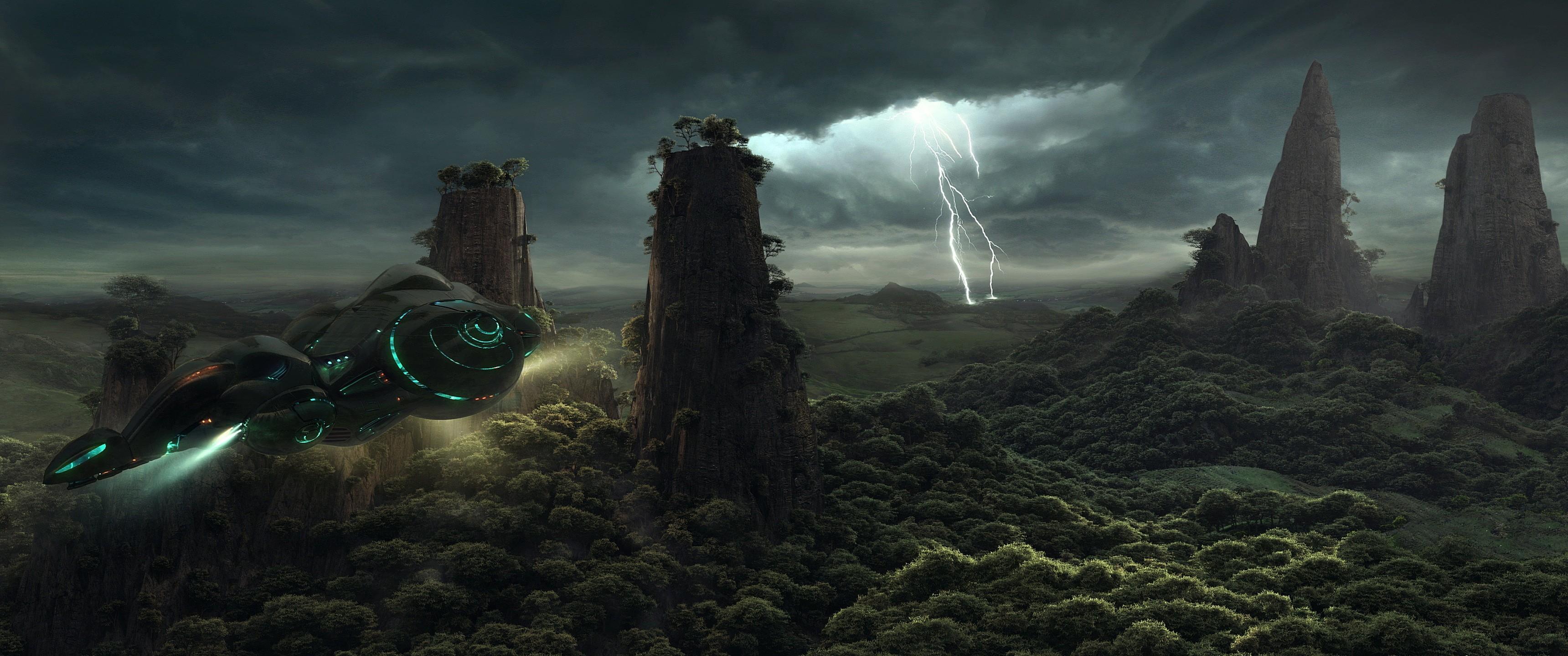 … px · Fantasy Art, Aircraft, Sky, Lightning
