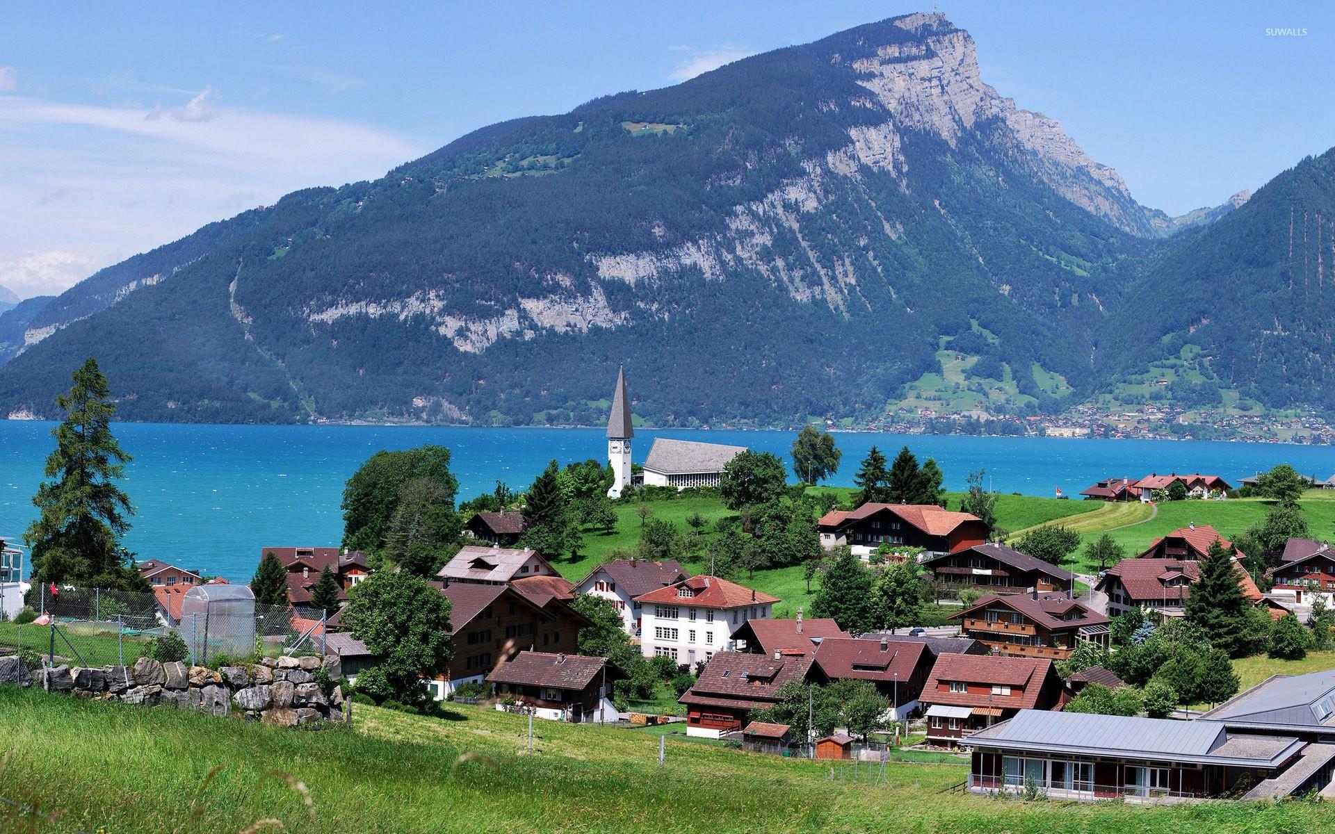 Small town by Lake Thun wallpaper jpg