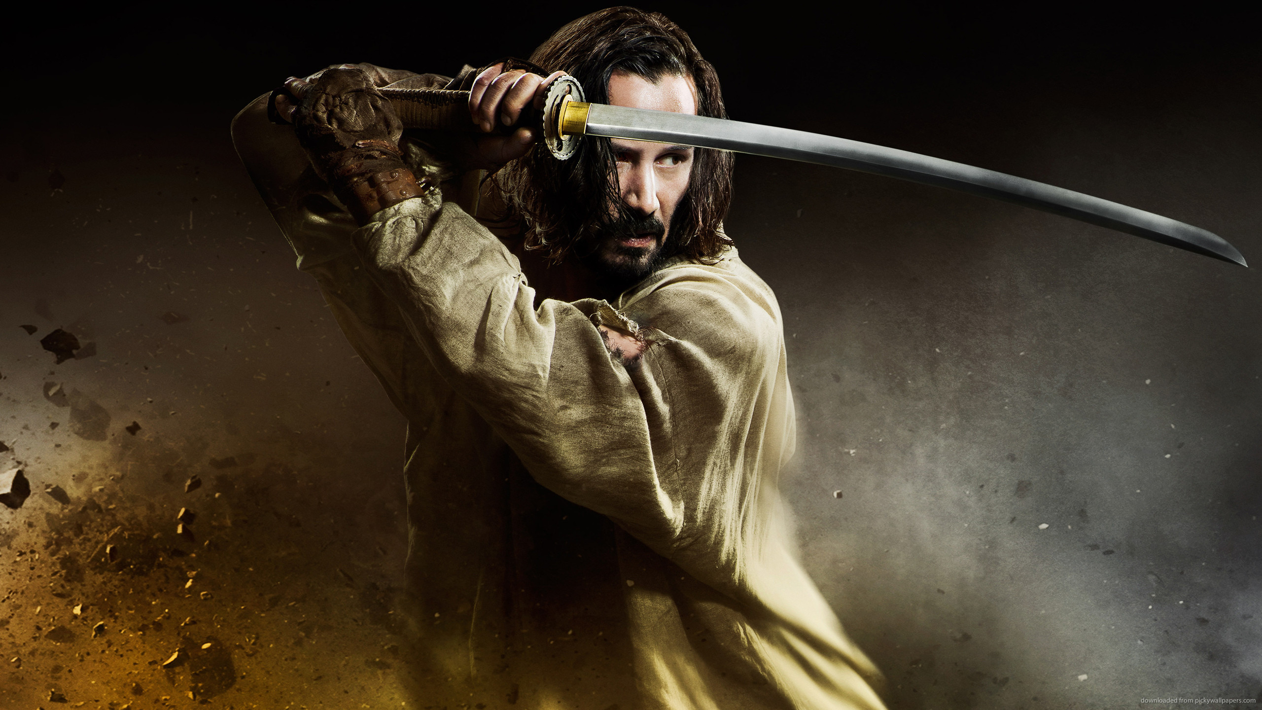Keanu Reeves In 47 Ronin Holding Katana for 2560×1440