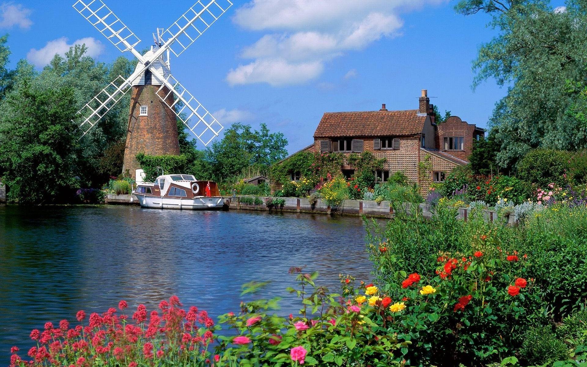 Dutch Windmill Landscape Wallpaper