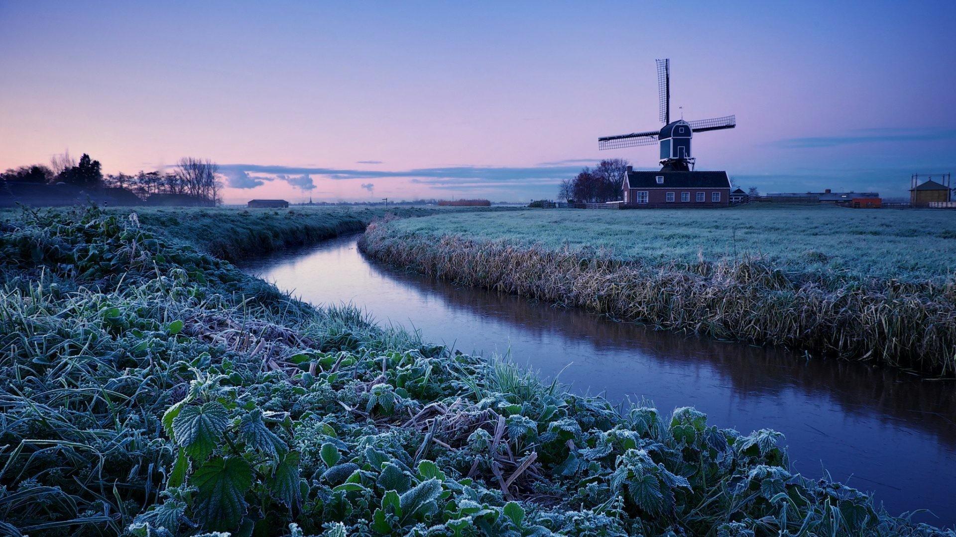 Monuments – Windmills Zima Utro Rassvet Niderlandy Kinderdijk Holland Dutch  Image for HD 16:9