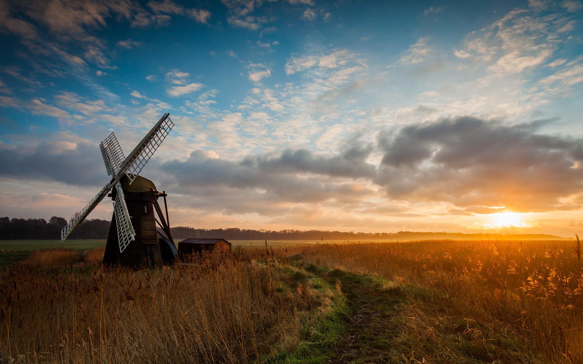 Windmill Morning Sunrise HD Wallpapers