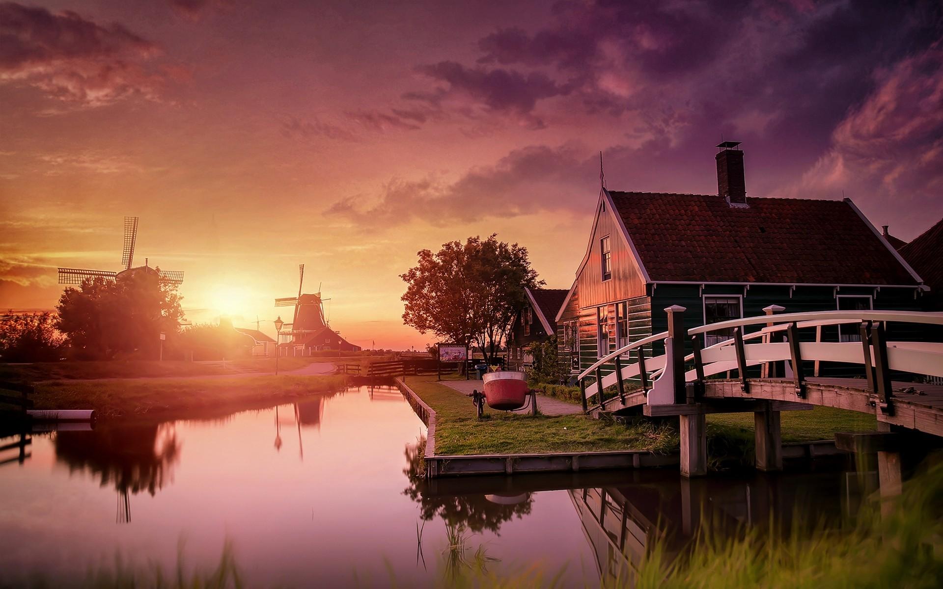 Nature, Landscape, Netherlands, Sunset, Windmills, Canal, Bridge, Water,