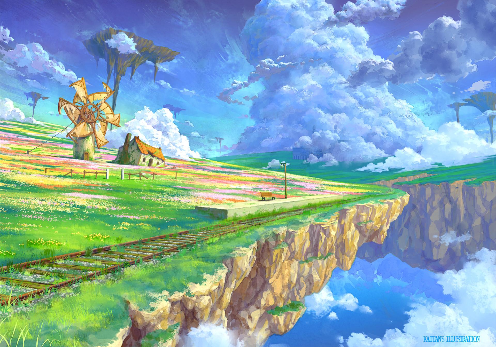 Anime – Original Cloud Landscape Flower Scenic Sky Train Station Windmill  Nature Floating Island Wallpaper