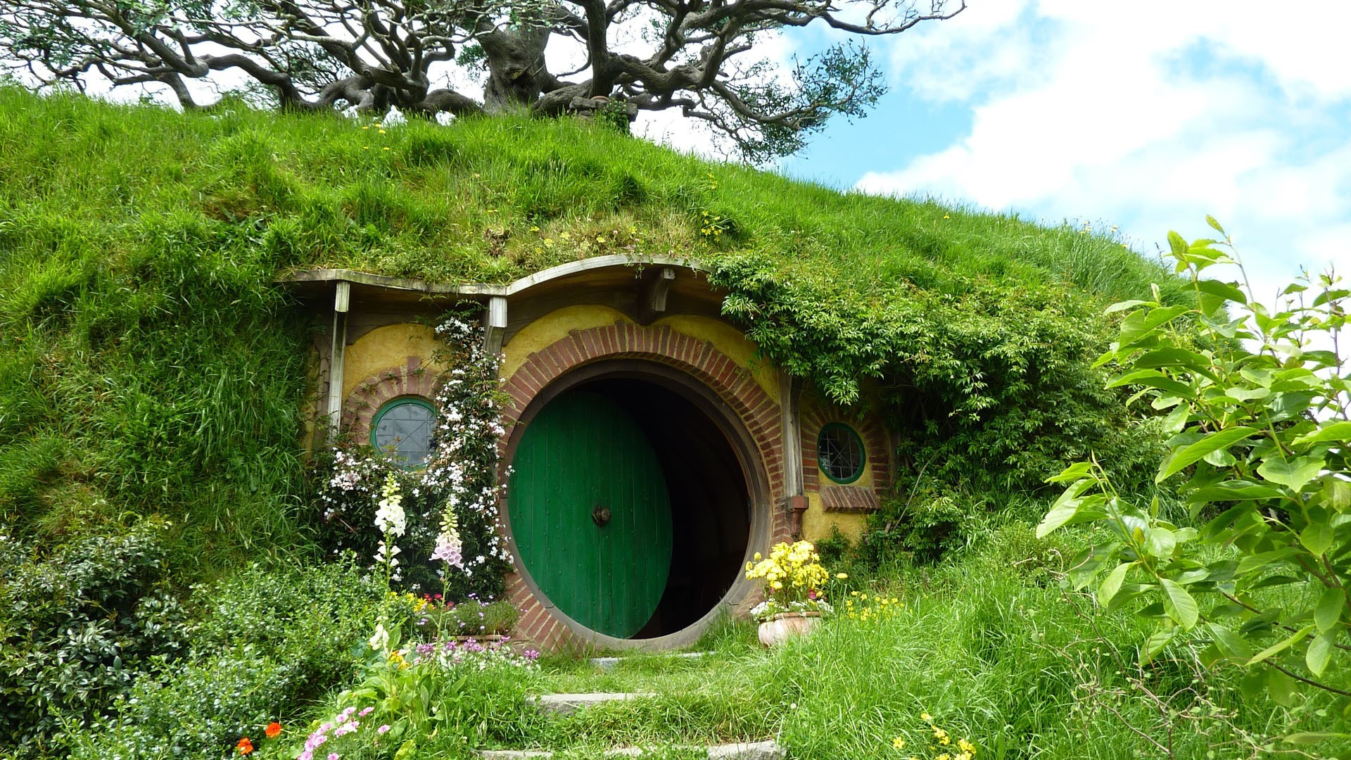 nature, Landscape, House, New Zealand, Hobbiton, Door, Trees, Grass