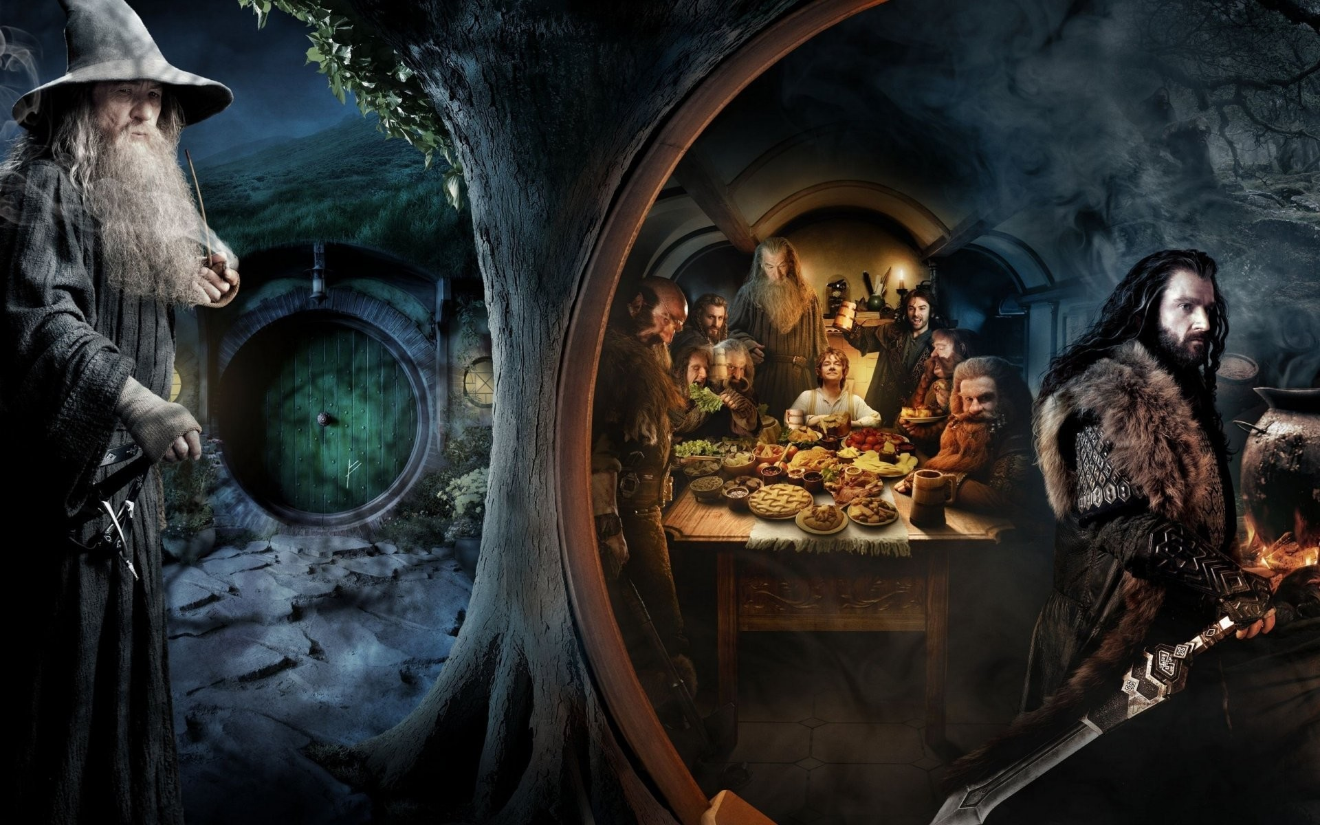 the hobbit an unexpected journey hobbies unexpected journey gandalf bilbo  torin gnomes hobbiton br bag end