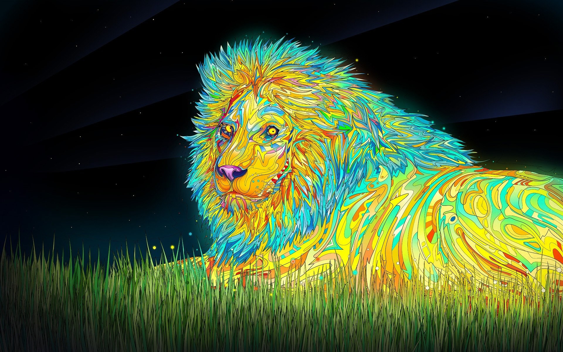 Psychedelic Lions Colorful Digital Art …
