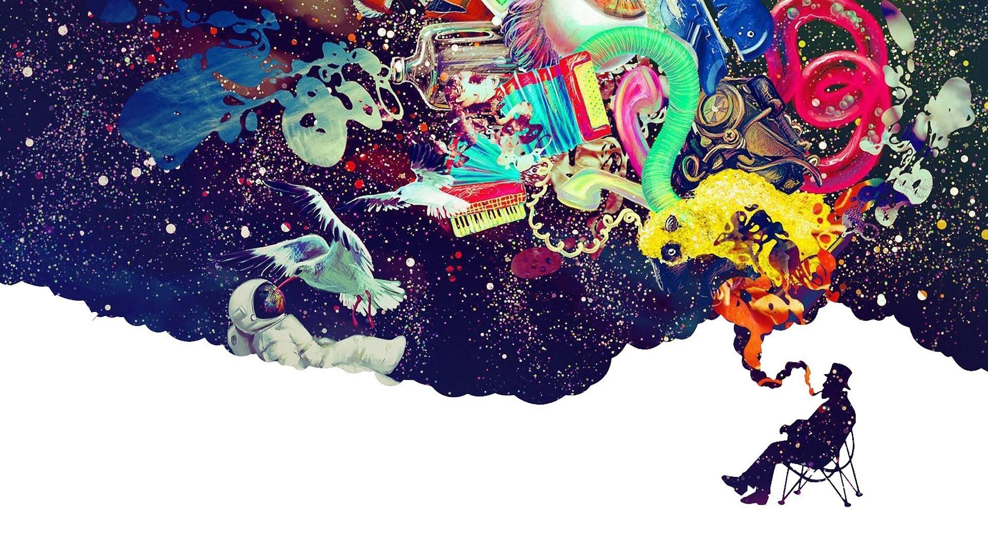 astronaut, Abstract, Surreal, Digital art, Smoking, LSD