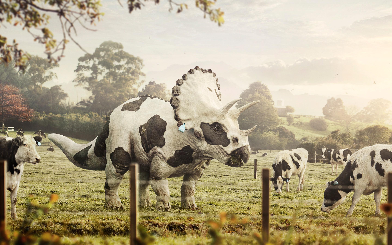 Abduzeedo, Cows, Dinosaurs, Triceratops, Digital Art, Bull, Farm Wallpapers  HD / Desktop and Mobile Backgrounds