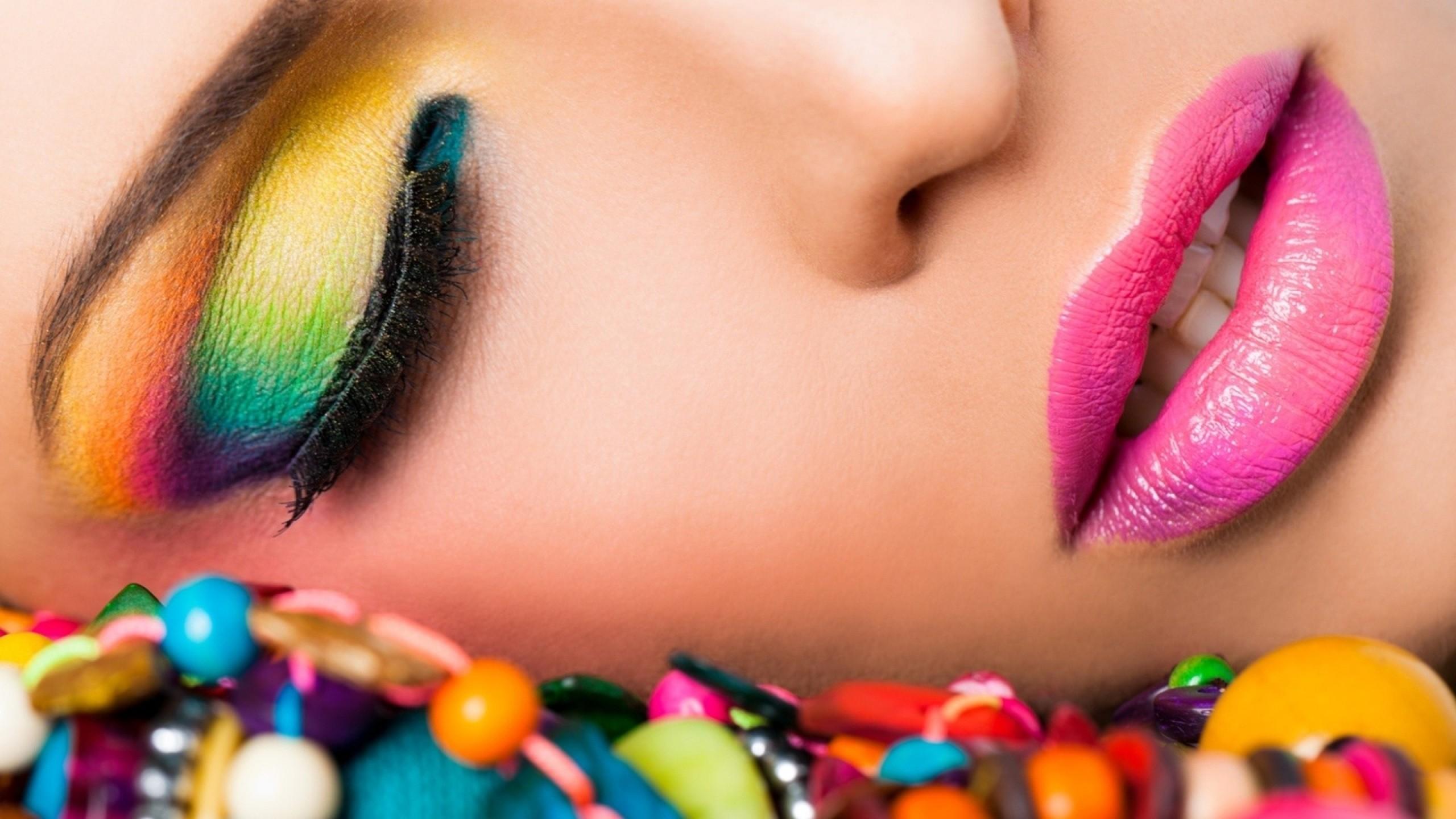 Wallpaper girl, lipstick, makeup, lips, bright