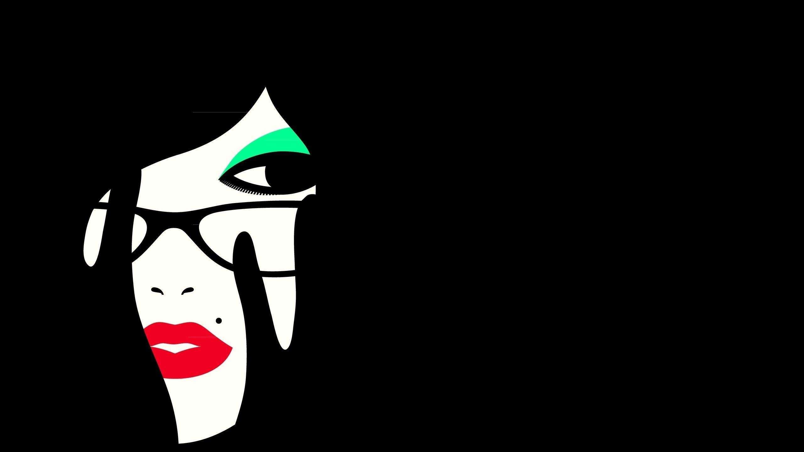 Preview wallpaper girl, face, makeup, minimalism, vector graphics 2560×1440