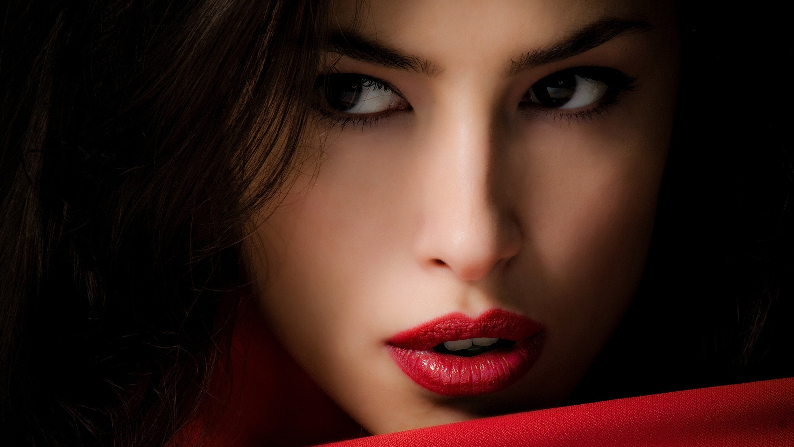Wallpaper girl, brunette, model, person, lipstick, bright, makeup