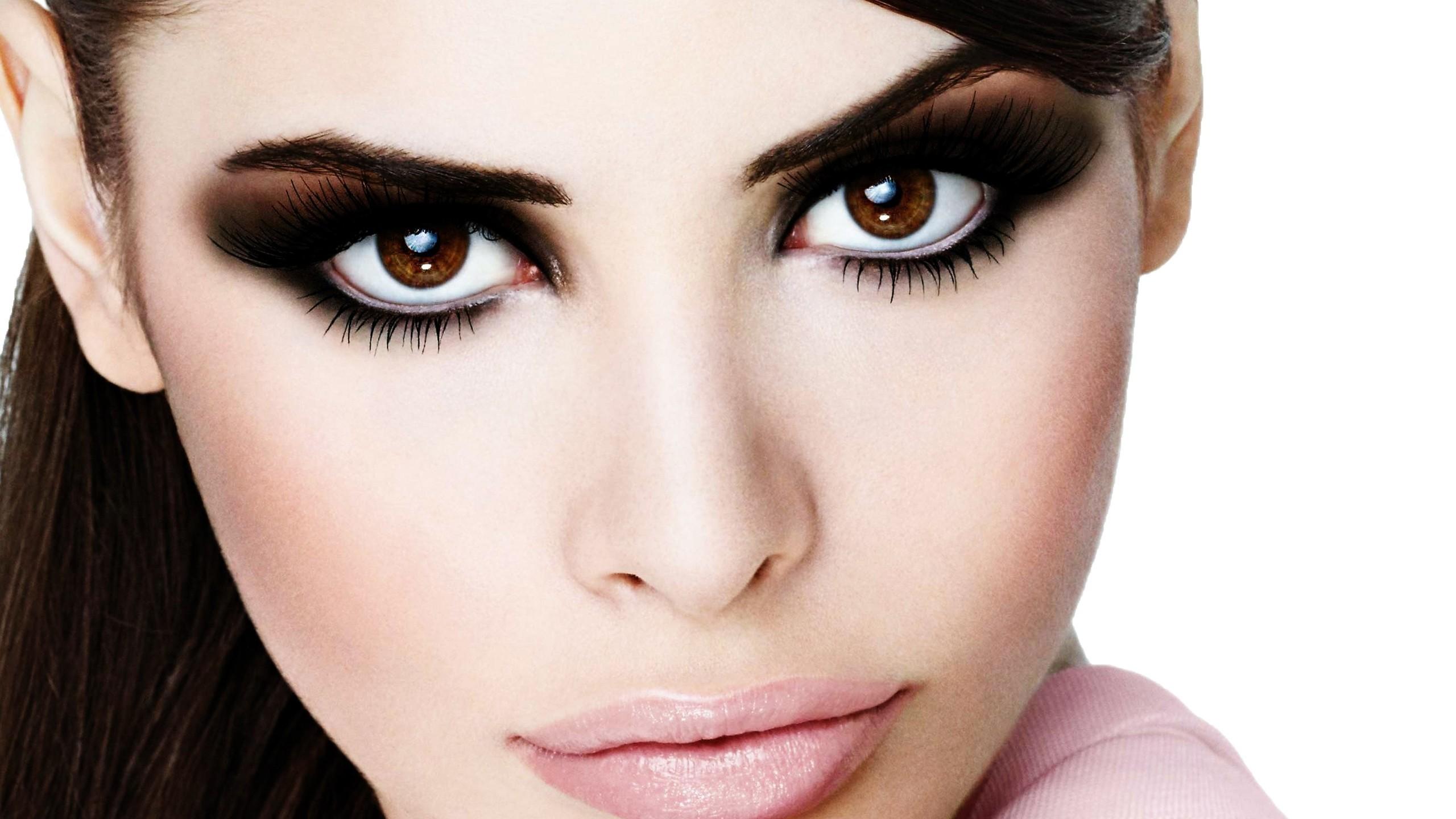 Wallpaper brunette, face, brown-eyed, makeup