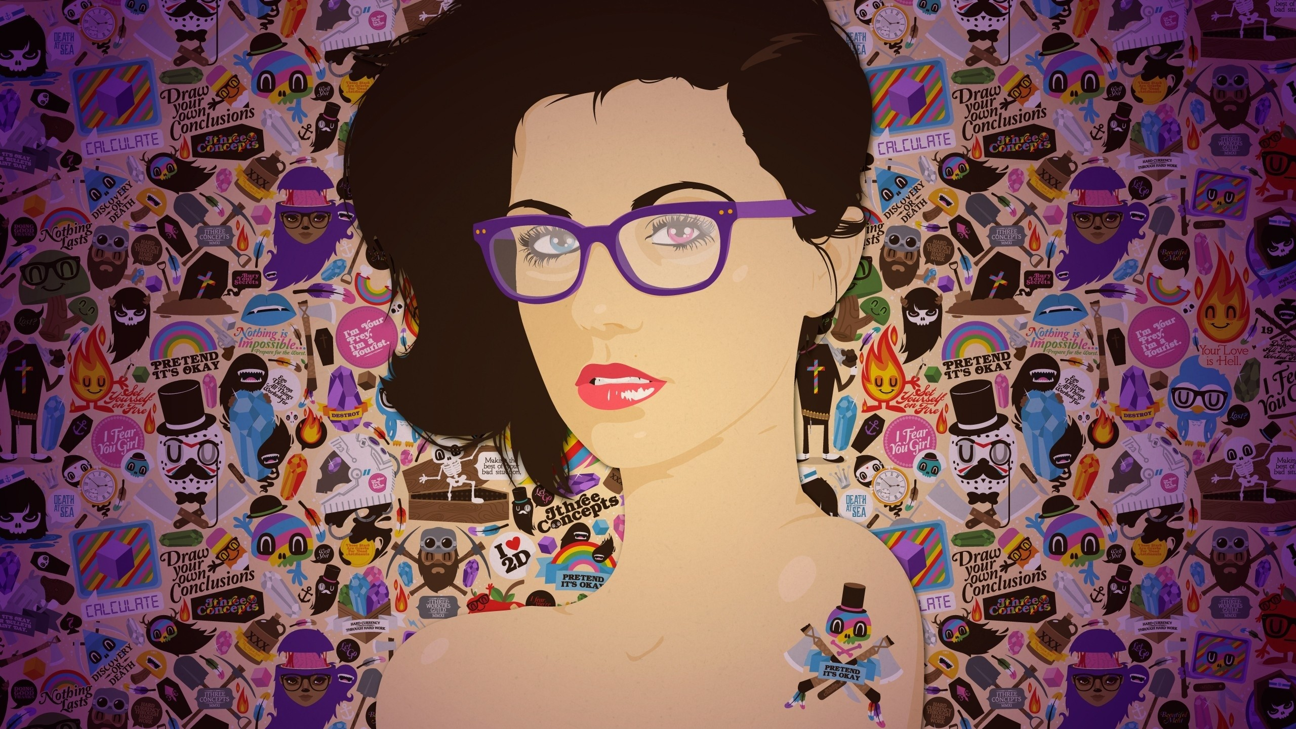 Wallpaper girl, glasses, face, makeup, background, colorful