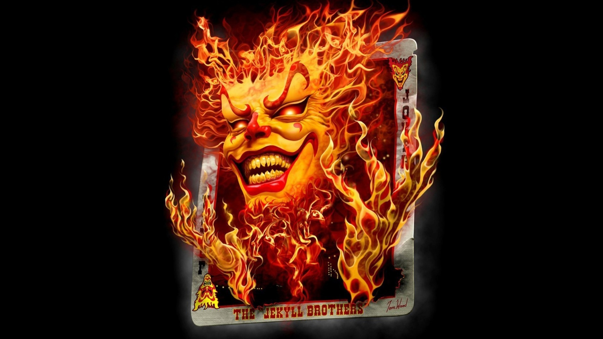 General digital art black background minimalism playing cards  fire Joker smiling devils red eyes Insane
