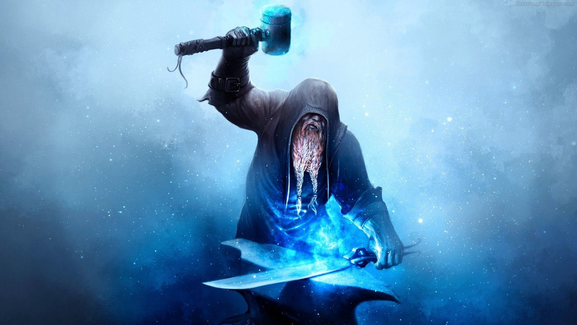 Dwarf in a Hood with a Magic Weapon HD Wallpaper. « »