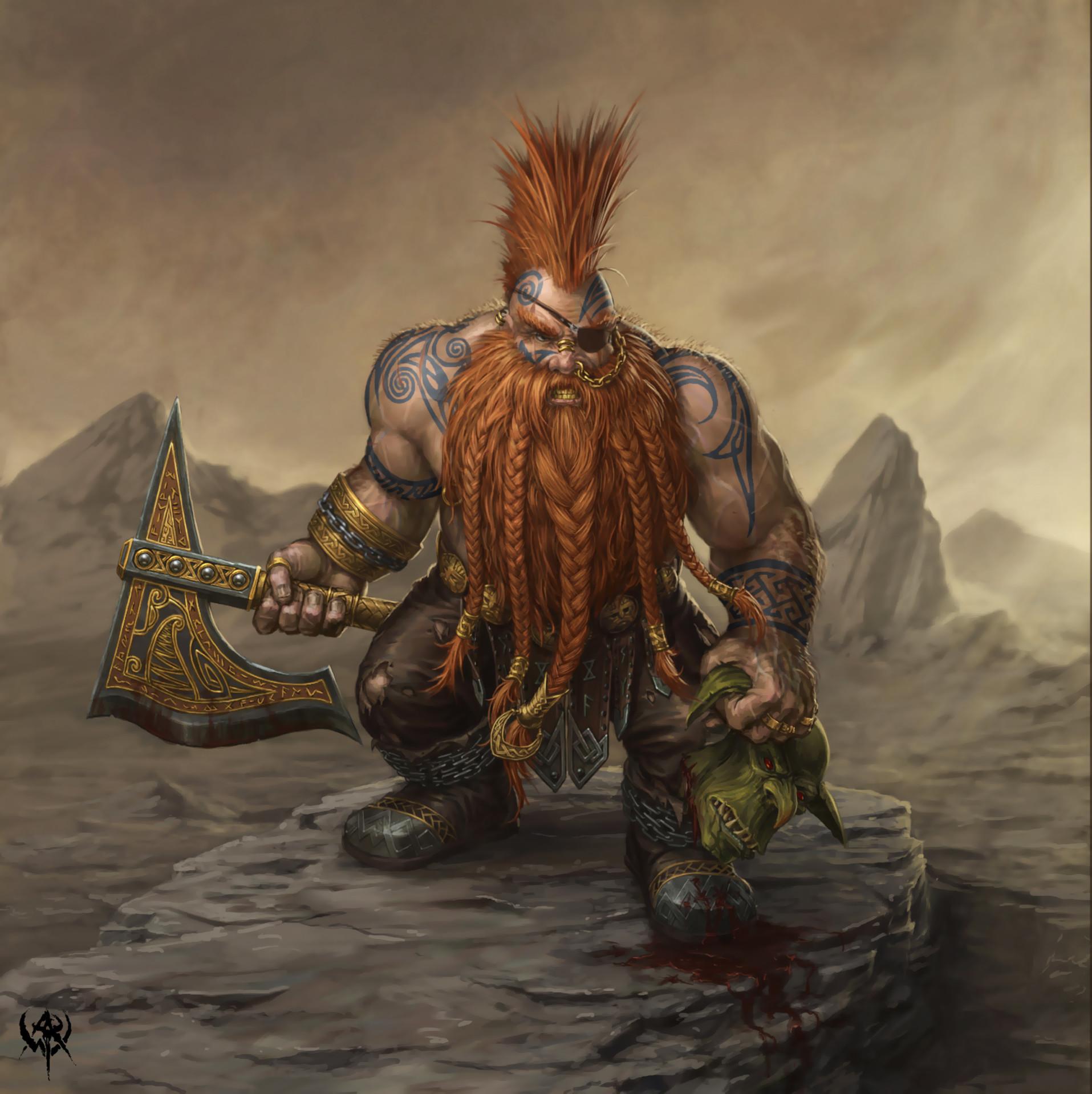 m Dwarf Barbarian axe Orc head rough magma volcano mountain mob dwarf  warrior by PabloQ
