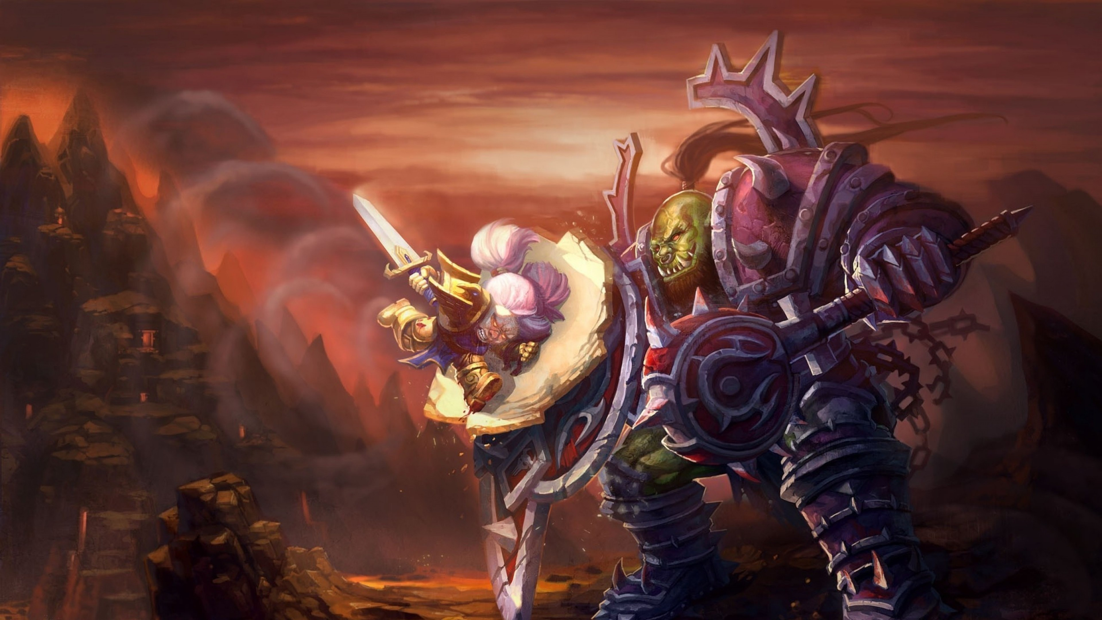 Preview wallpaper world of warcraft, wow, orc, warrior, dwarf, paladin  3840×2160