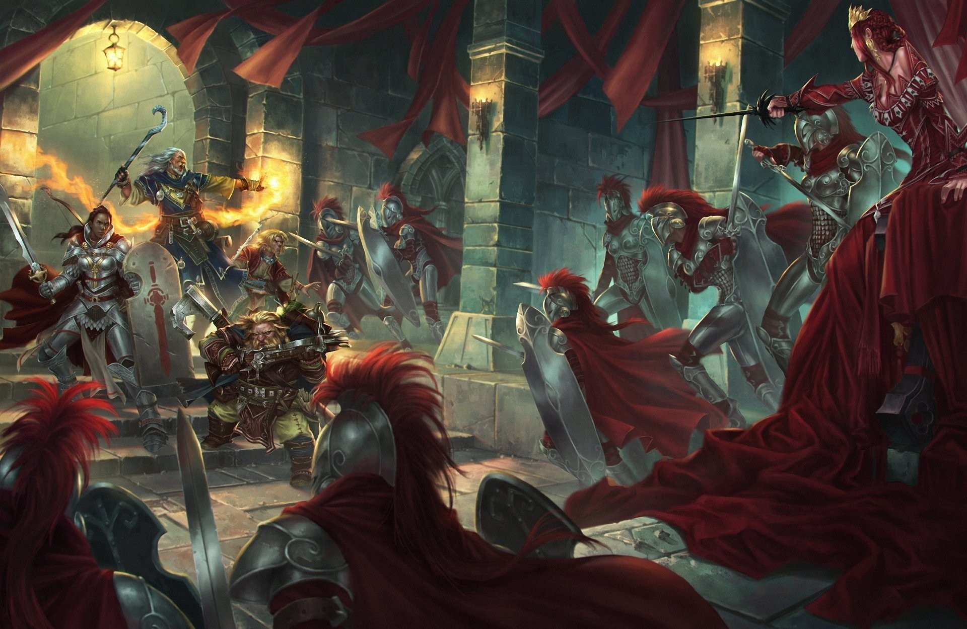 Fantasy – Battle Woman Warrior Knight Sword Dwarf Wizard Wallpaper