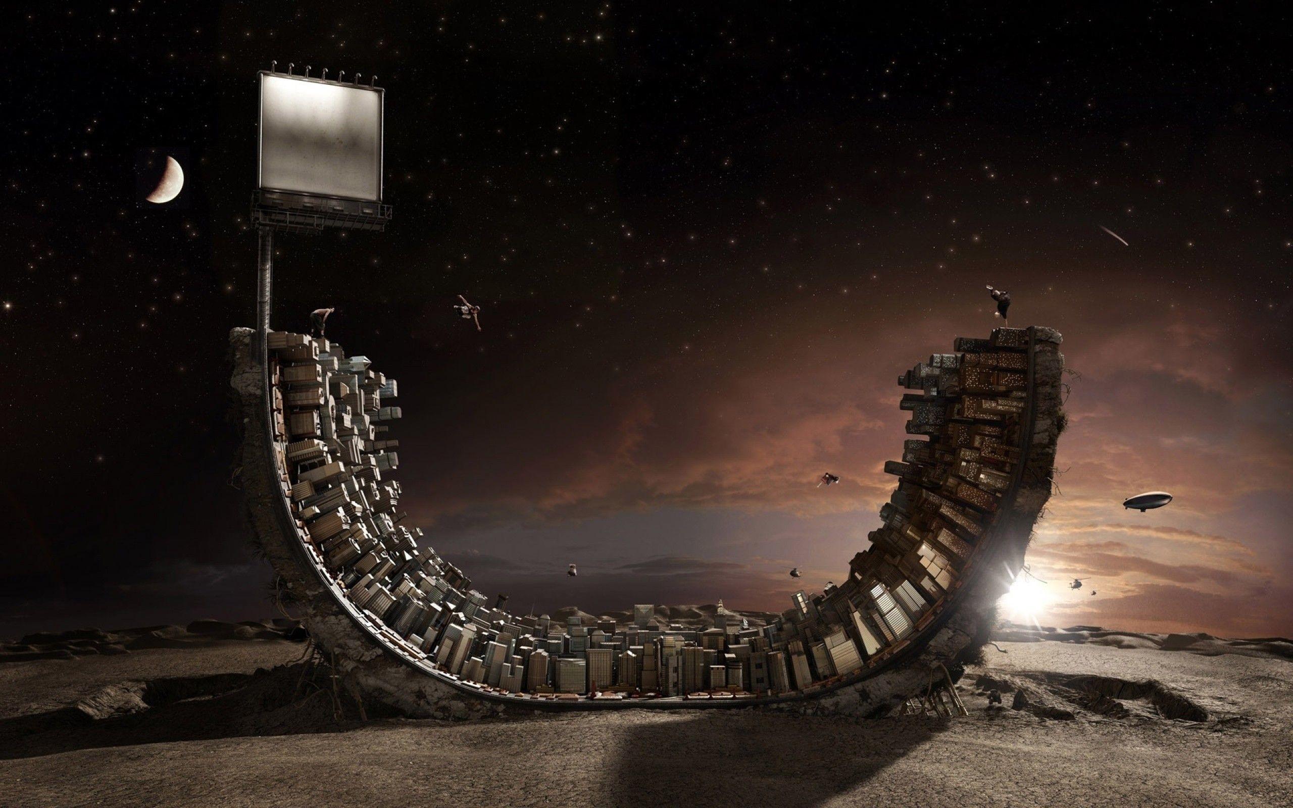 Half pipe city, skateboard, digital-art, HD Wallpaper .