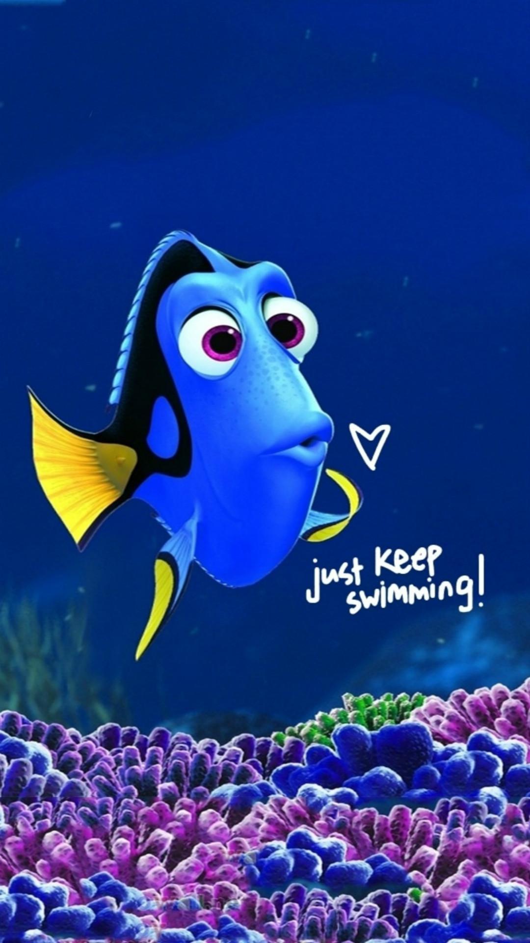 Just Keep Swimming Clownfish Art Drawn iPhone 6 wallpaper
