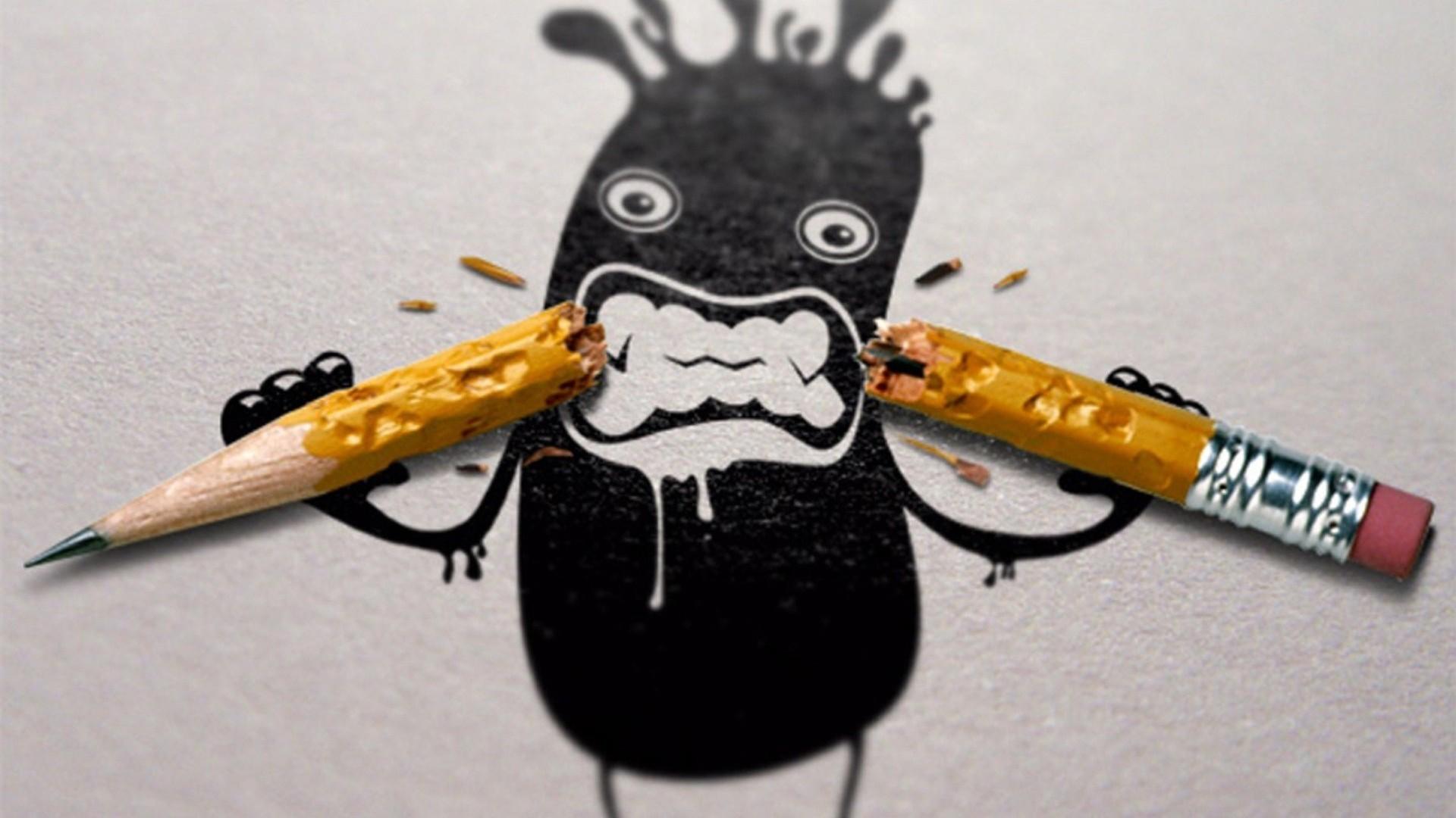 Art Work Pencils Funny Wallpaper