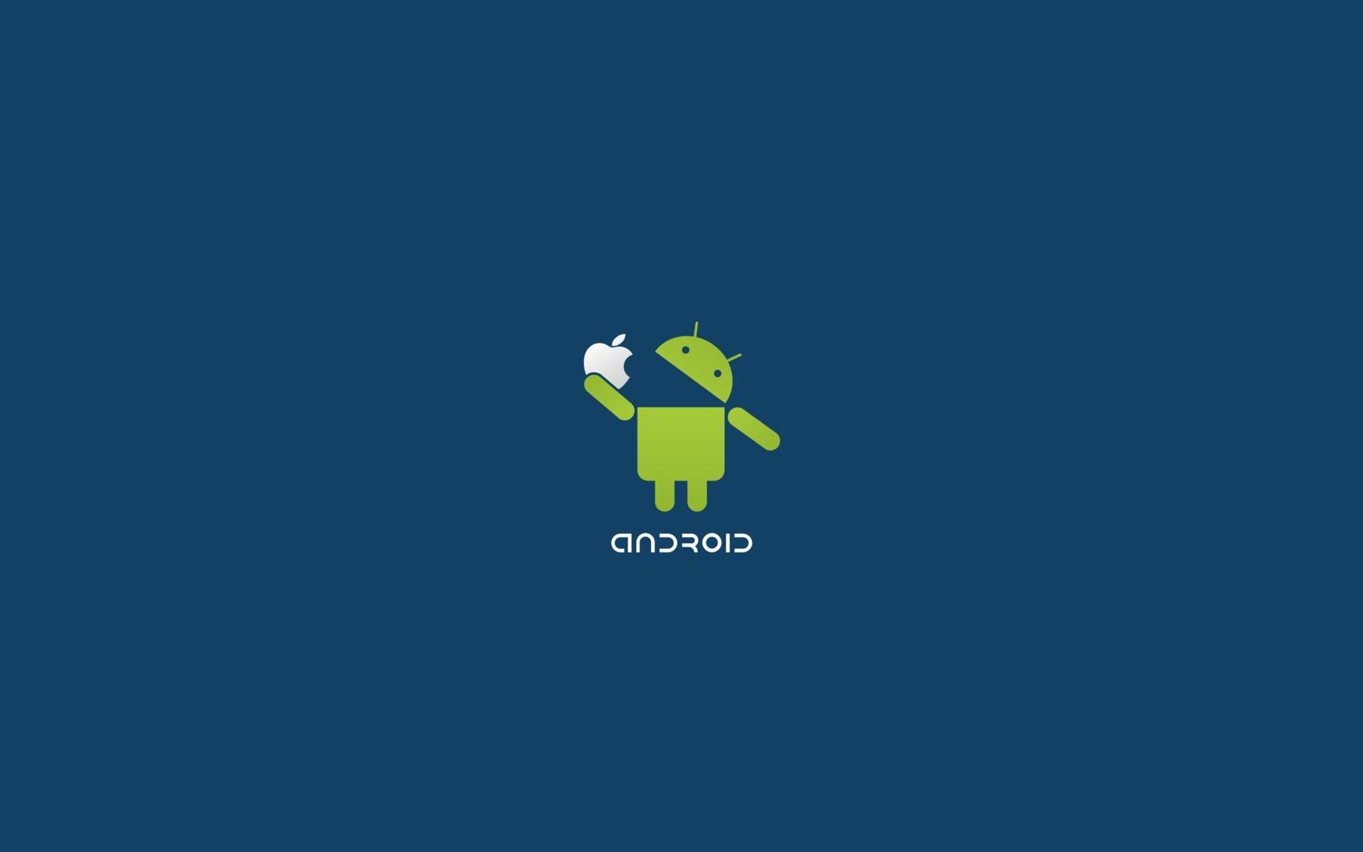 Android Logo Eat Apple Funny Desktop Wallpaper Uploaded by DesktopWalls