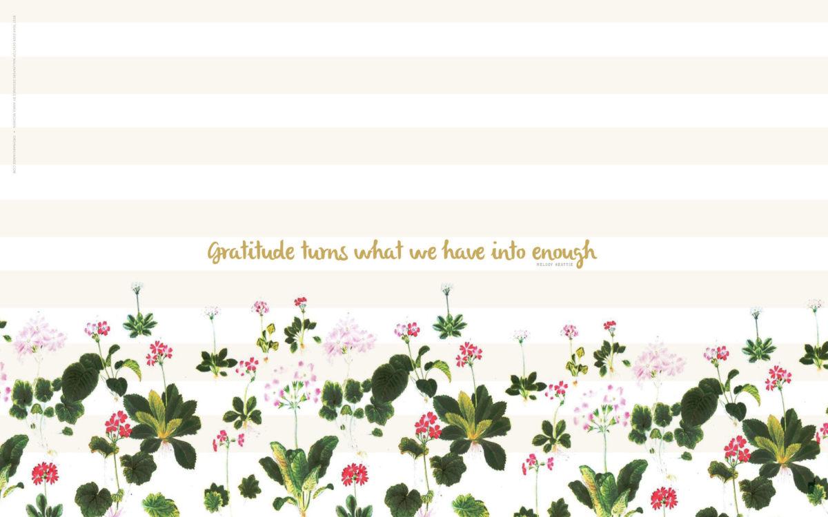 Mint White Stripes Floral Gratitude Desktop Wallpaper Background