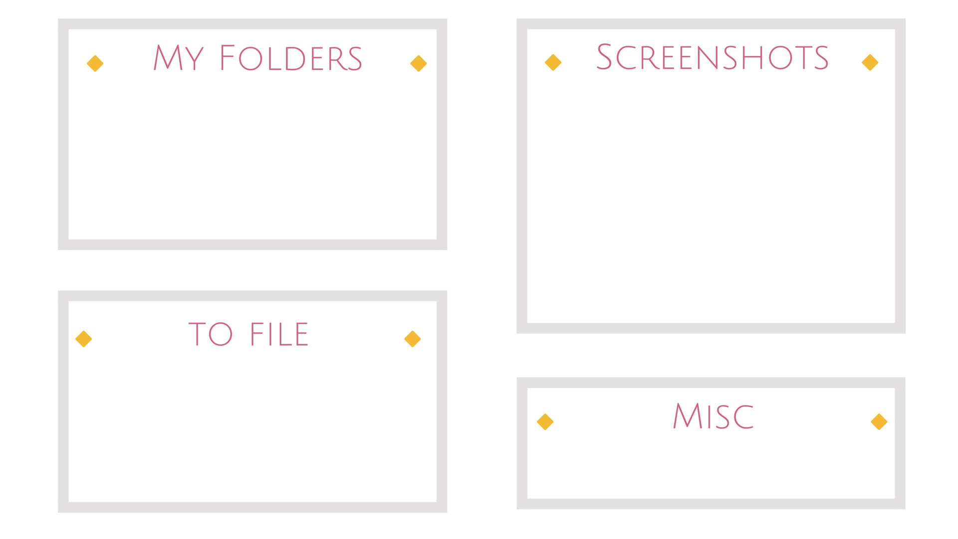 Minimal white grey pink yellow desktop organizer wallpaper background