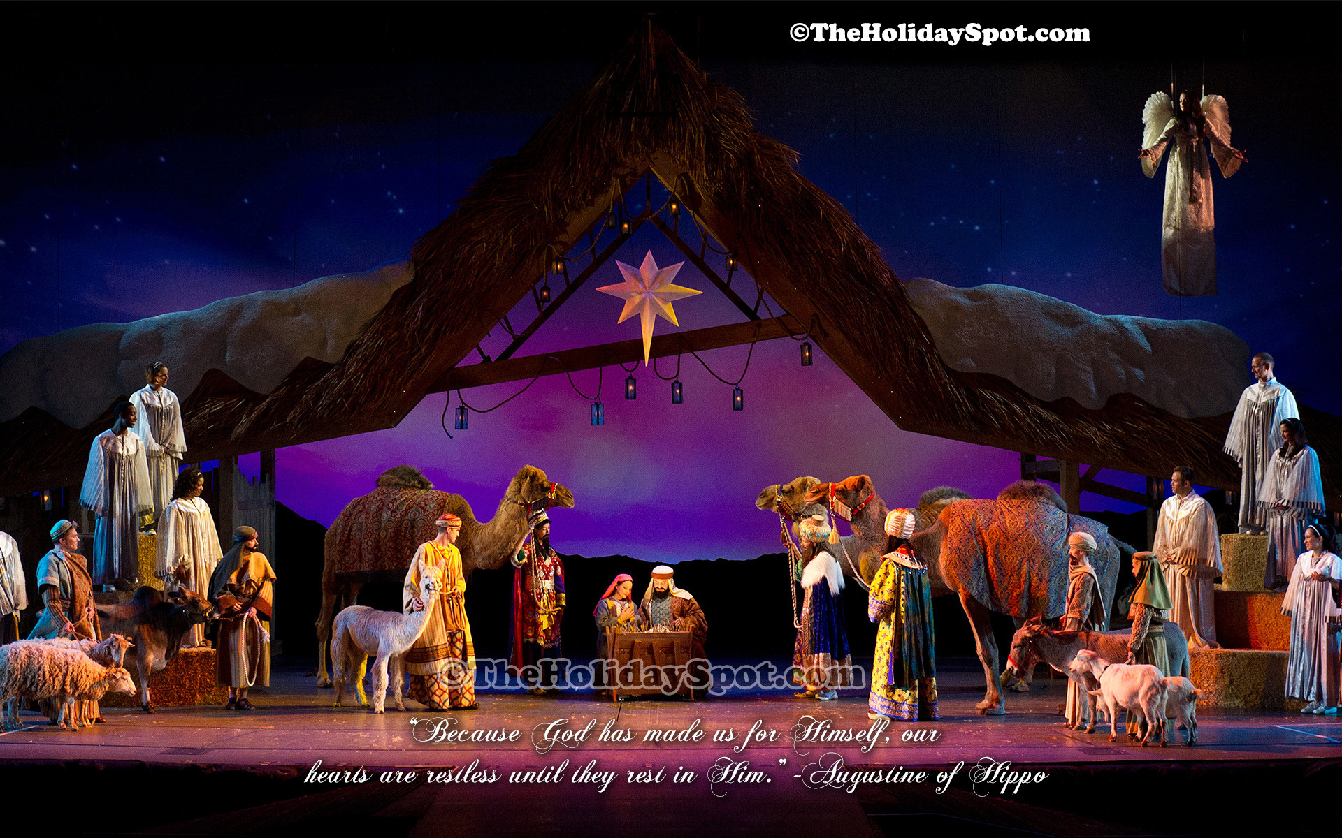 A beautiful christmas wallpaper depicting the birth Of Jesus.