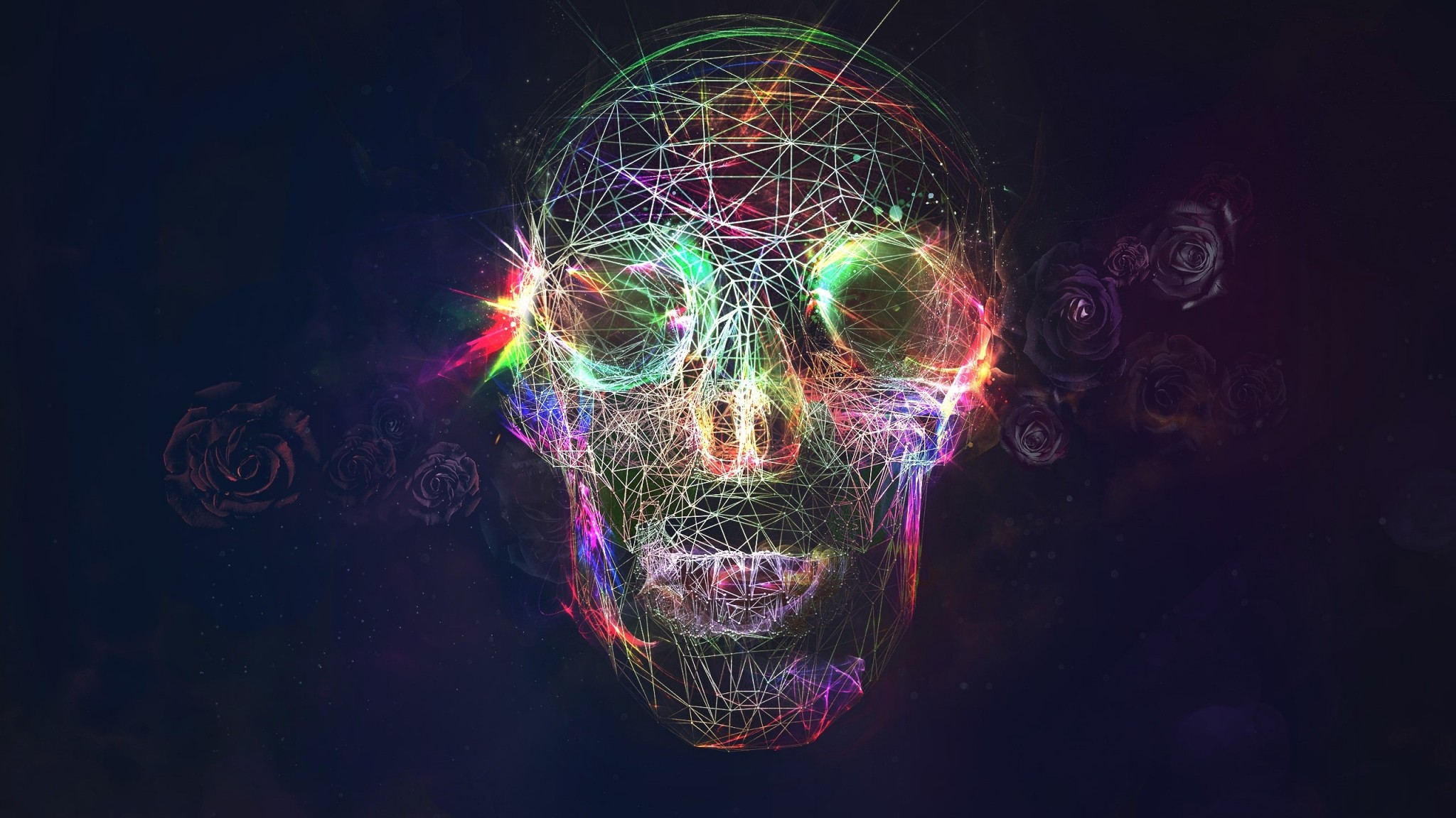 Preview wallpaper skull, abstract, bright, background 2048×1152