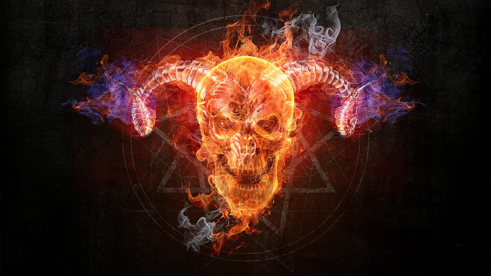 Flaming Skull wallpaper free