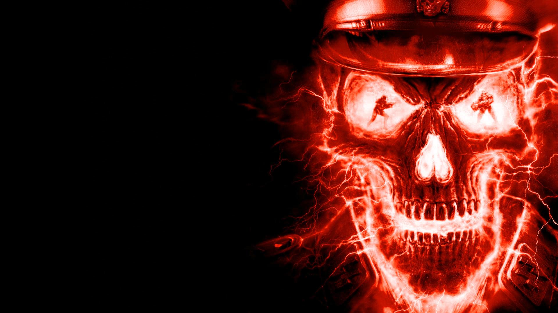 Red Skulls On Fire Photo, fire skull texture