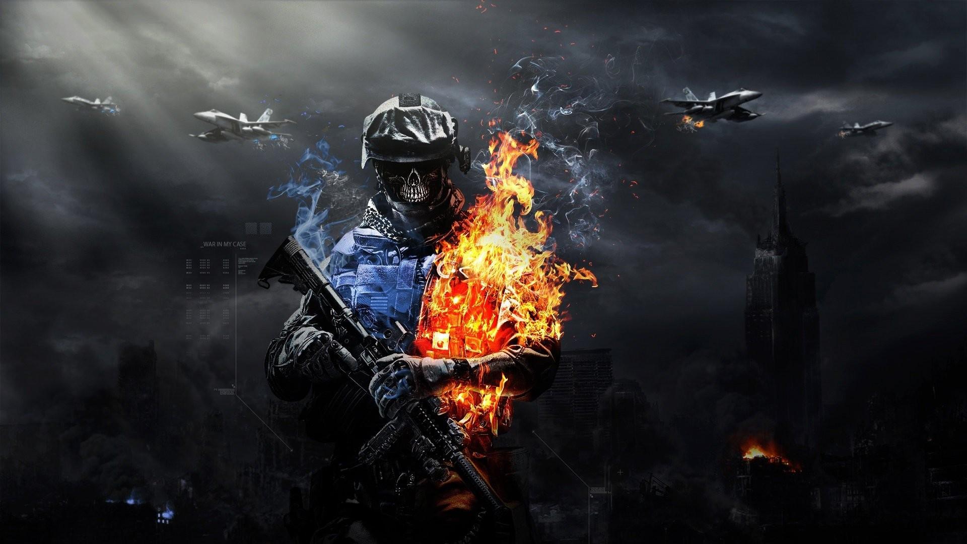 Artwork Battlefield 3 Buildings Explosions Flames Jet Aircraft Skulls  Soldiers War