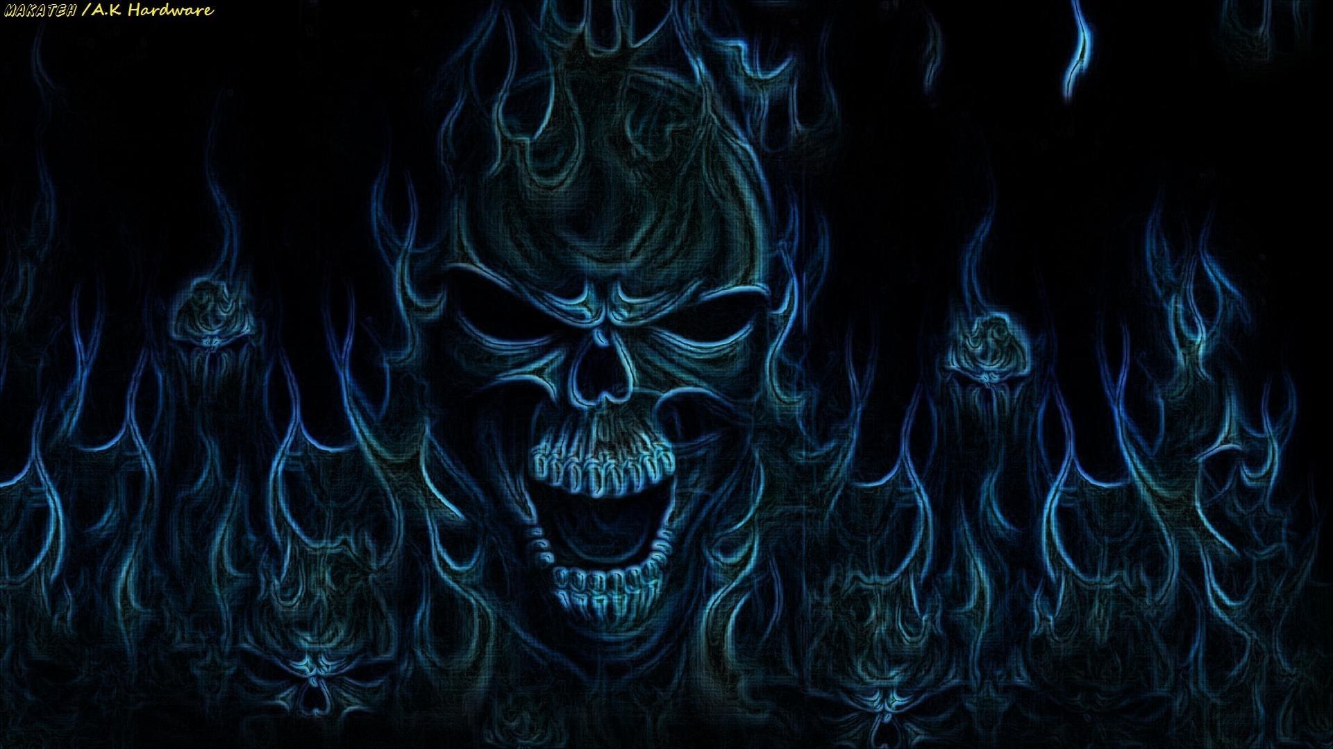 blue flaming skull wallpaper